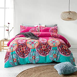 ARTALL 3 Pcs Soft Bohemia Printing Duvet Cover Set Comforter Quilt Cover Bedding Set, Boho Floral Pattern, Colorful, Full/Queen(90