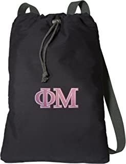 Broad Bay Phi Mu Drawstring Backpack Rich Canvas Phi Mu Sorority Cinch Bag