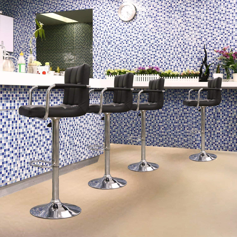 cm Homfa 2 Taburetes de Bar Taburetes Alto Cocina Sillas de Bar con Respaldo1 Altura Ajustable y Rotaci/ón de 360/° PU para Restaurantes Blanco 52x39x 93-114