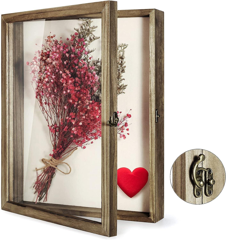 TJ.MOREE Caja de sombra de 13 x 16 flores, marco de caja de sombra con marco de cristal para fotos de boda, ramo de recuerdos y medallas para recuerdos