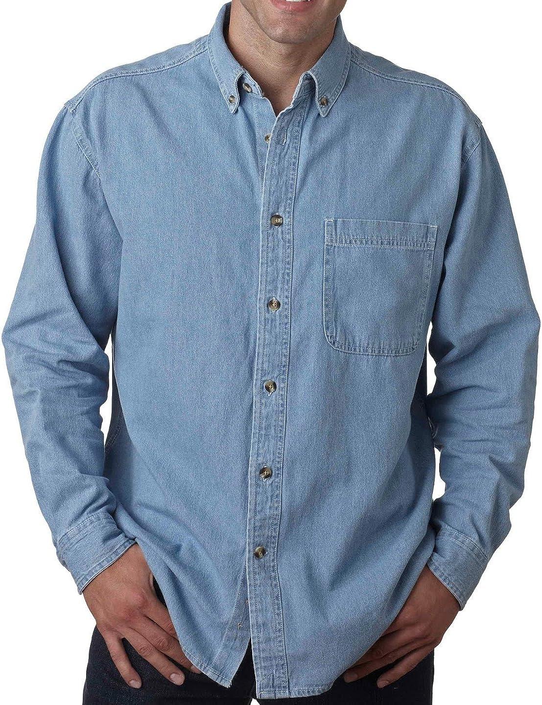 UltraClub Big Men's New Casual Cypress Denim Shirt