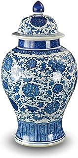 "20"" Classic Blue and White Porcelain Floral Temple Jar Vase, China Ming Style, Jingdezhen"