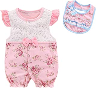 Fairy Baby Newborn Baby Girls Outfit Set 2pcs Clothes Set Lace Floral Romper with Bibs