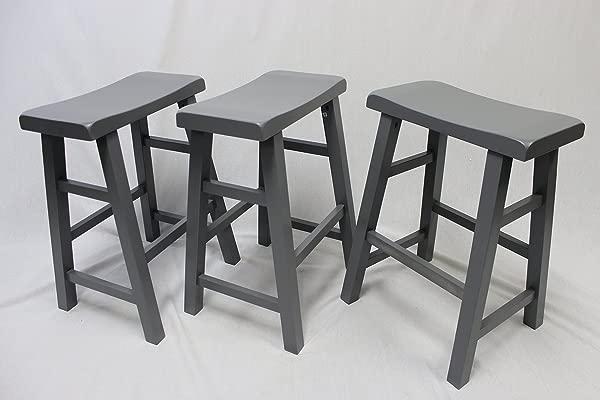EHemco Set Of 3 Heavy Duty Saddle Seat Bar Stools Counter Stools 24 Grey Gray