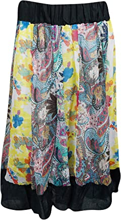 Mogul Interior Womens Peasant Skirt Colorful Floral Midi Skirts S/M/L