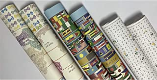 eVincE 3 assorted design Gift Wrapping paper roll   Word Search   World Map   All Country Flags Papers with fun facts   al...