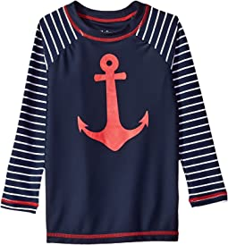 Sea Anchors Long Sleeve Rashguard (Toddler/Little Kids/Big Kids)