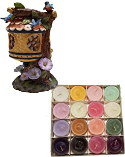 Shoppe Share Birdhouse and Flowers Tealight Holder Decoration and Candles Bundle - Retired Partylite