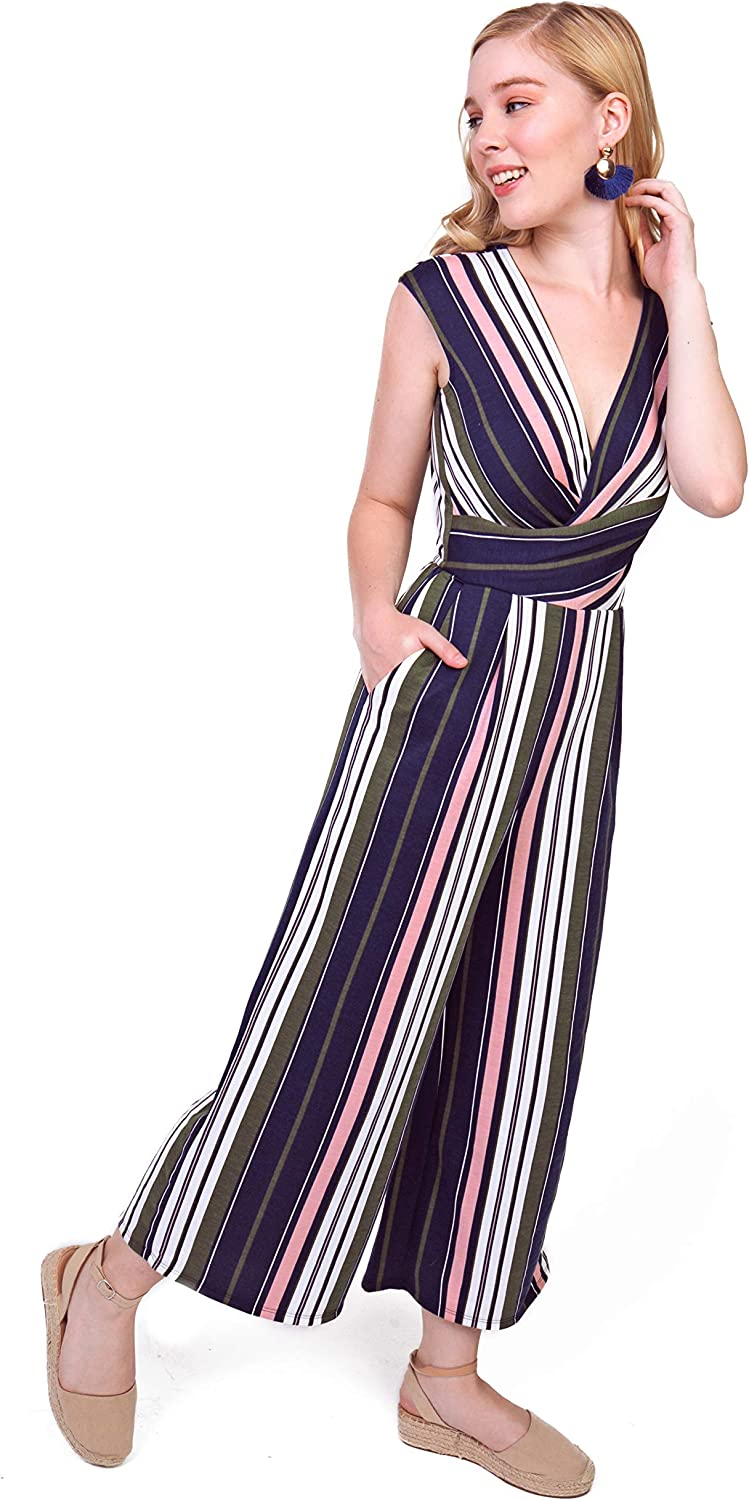 Bebop Women's Women's Strapless Popover French Terry Wide Leg Cropped Jumpsuit
