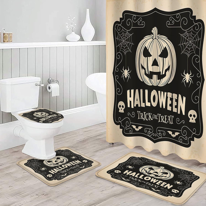 Super Special SALE held 4 PCS Shower Curtain Sets Pumpkin 2021 new Theme Skull Autumn Halloween