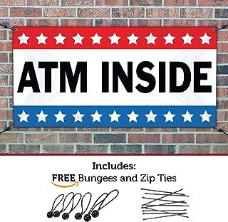 HALF PRICE BANNERS | ATM Inside Vinyl Banner -Indoor/Outdoor 4X12 Foot -Stars | Includes Ball Bungees & Zip Ties | Easy Hang Sign-Made in USA