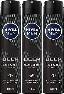 NIVEA MEN DEEP Dry & Clean Feel, Antiperspirant for Men, Antibacterial, Spray 200 ml, Pack of 3