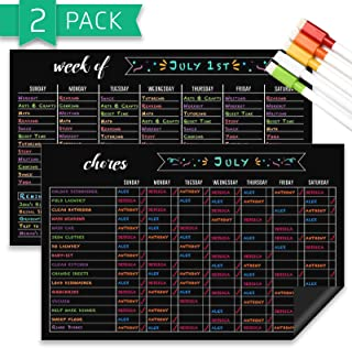 Chore Chart and Weekly Planner Set, Dry Erase Magnetic 11