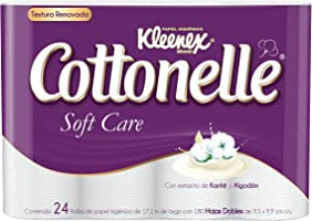 Kleenex Cottonelle Soft Care Papel Higiénico, color Blanco, 24 Rollos de 180 Hojas Dobles