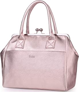 Rose Gold Deluxe Lunch Bags for Women Large Capacity Purse Lunchbag Fashionable Lunch Box for Women for Work Travel