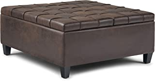 Simpli Home AXCOT-265-DBR Harrison 36 inch Wide Traditional Square Coffee Table Storage Ottoman in Distressed Brown Faux Air Leather