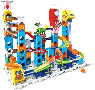 VTech Marble Rush Launch Pad, Construction Toys for Kids with 10 Marbles and 75 Building Pieces, Electronic Track Set for ...
