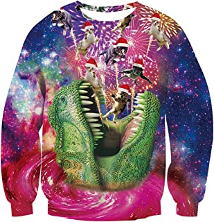 Uideazone Unisex Funny 3D Printed Christmas Xmas Dinosaur Cat Ugly Graphic Pullover Santa Jumpers Sweatshirt
