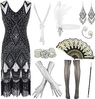 JUPITSON Women 1920s Gatsby Cocktail Sequin Art Deco Flapper Dress w/Accessories Set