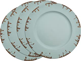 SARO LIFESTYLE Sousplat Collection Distressed Design Charger Plate - Set of 4 pcs, 13