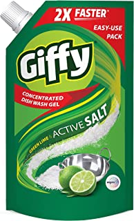 Giffy Green Lime & Active Salt Concentrated Dish Wash Gel by Wipro, 1000ml