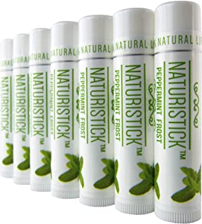 Peppermint Lip Balm Gift Set (7 Pack) by Naturistick. Best All Natural Beeswax Healing Chapstick for Dry, Chapped Lips. With Aloe Vera, Vitamin E, Coconut Oil. For Men, Women and Kids. Made in USA.