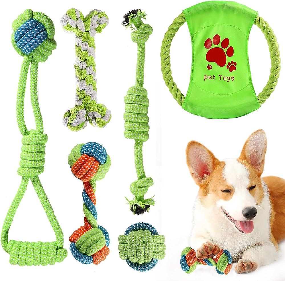 Ace2ace, 6 pezzi giochi per cani, giocattoli da masticare, 100% cotone naturale corda 779
