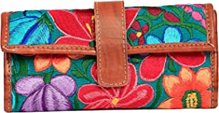 Abc Market Leather Wallet Card Case for Women Handmade with Beautiful Floral Pattern Design Vintage Boho with ID Window an...