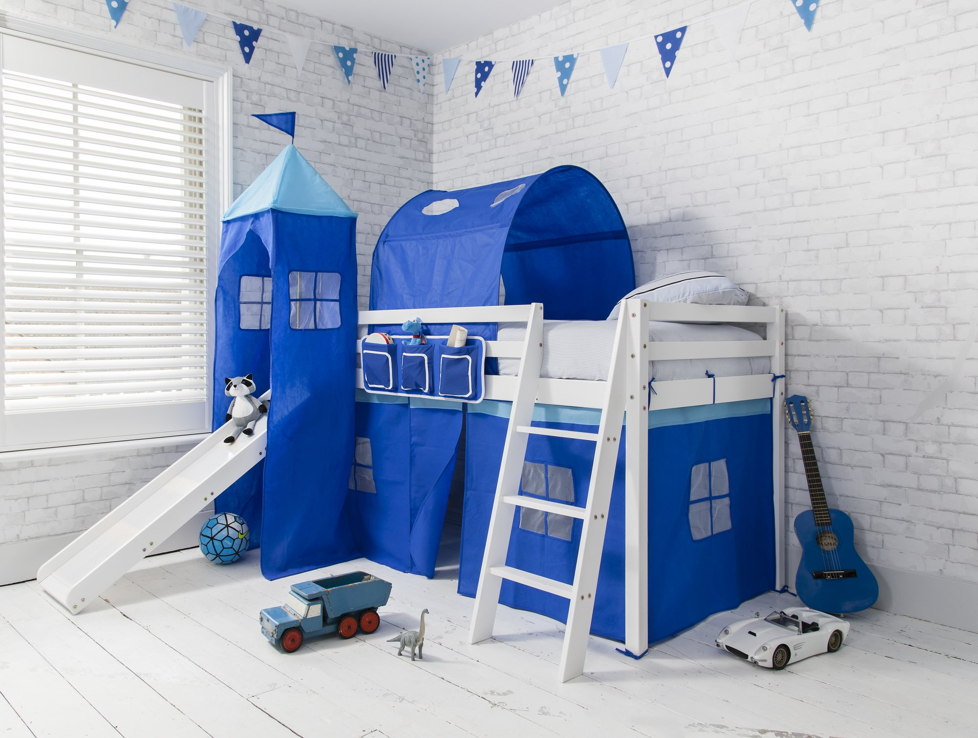 Noa and Nani - Midsleeper Cabin Bed with Slide and Blue Tent Tunnel and Tower  sc 1 st  Amazon UK & Children Bed with Slide: Amazon.co.uk