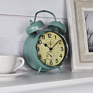 FirsTime & Co. Teal Double Bell Alarm Tabletop Clock, 5