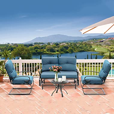 Incbruce 4Pcs Outdoor Patio Furniture Conversation Sets (Loveseat, Bistro Table, 2 Spring Chair) - Swing Glider Patio Bench a