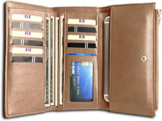 Rfid Women's Wallets Ladies Clutch Trifold Leather Wallet Multi Card Large Capacity
