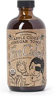 Fire Cider, Apple Cider Vinegar Tonic with Honey, Original Flavor,Pure & Raw, All Certified Organic Ingredients, Not Heat Processed, Not Pasteurized, Paleo, Keto, 16 Shots, 8 oz.