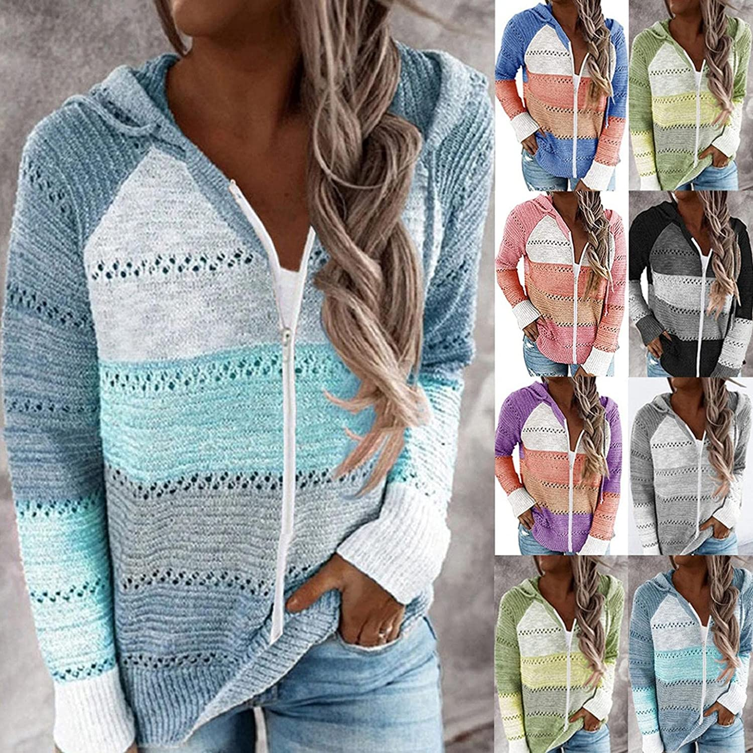 Haheyrte Womens Hoodies Casual Patchwork Long Sleeve Hooded Sweater Cardigan Casual Sweatshirts Pullover Tops