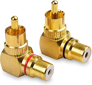 Cable Matters 2-Pack Right Angle RCA Adapter, 90 Degree RCA Adapter