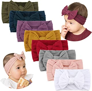 Handmade Stretchy Nylon Headband with Bows Pom Pom Bun 5.5 inch Big Hair Bow Headband for Infant Baby Girls