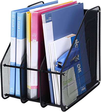 Kurtzy File Holder Rack Metal Mesh for Document Magazines Paper Storage Organizing Desktop Table Home & Office 3 Compartments