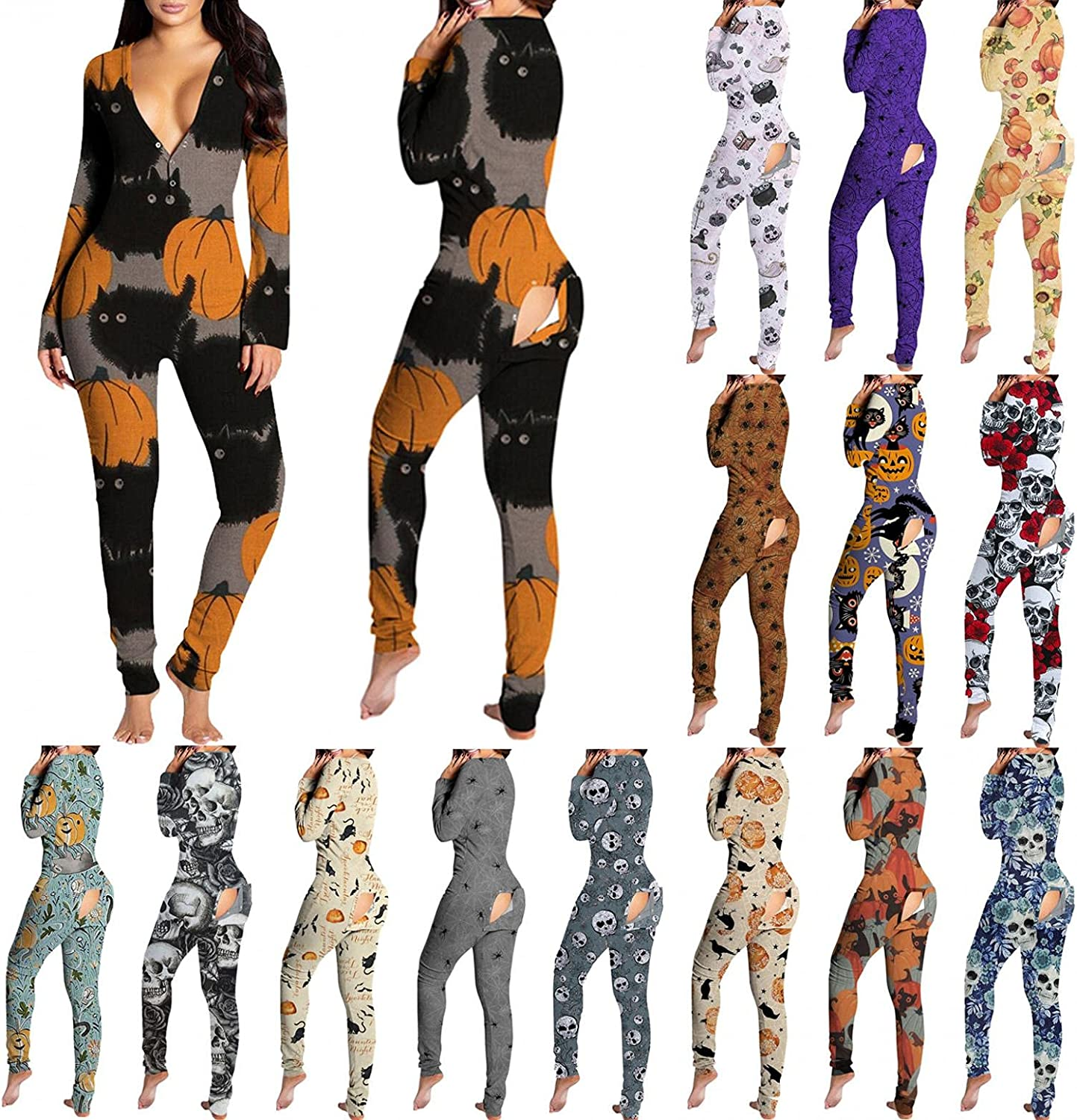 Lingbing Halloween Jumpsuits for Women, Funny Cute Pumpkin Black Cat Graphic Bodycon Bodysuits Onesies Pajamas Butt Flap