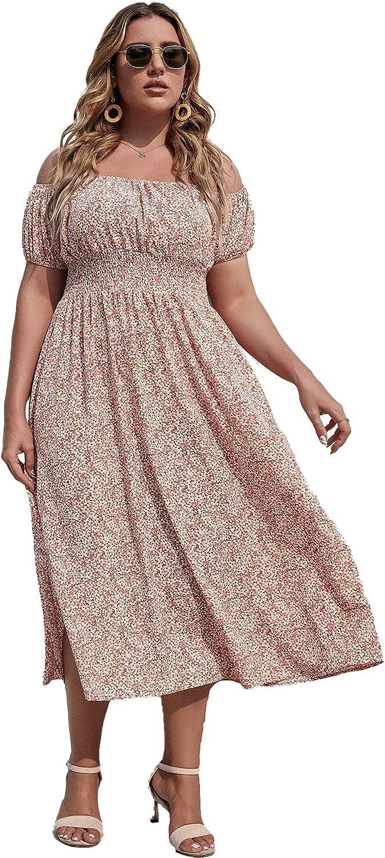 SOLY HUX Women's Plus Size Boho Floral Print Off Shoulder Split Hem A Line Dress