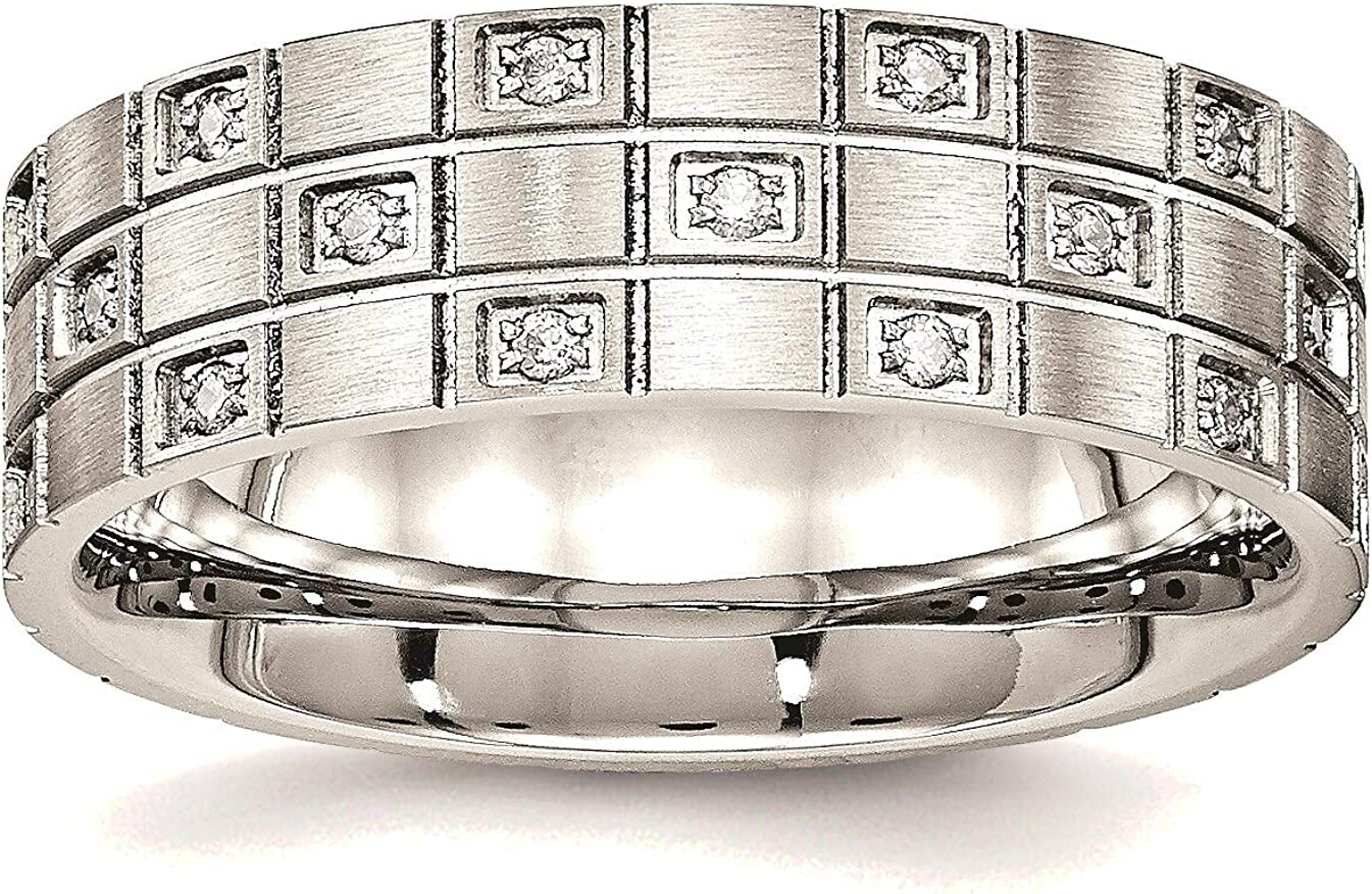 Bonyak Jewelry Superior Stainless Steel favorite Brushed in Grooved Stainl Ring CZ