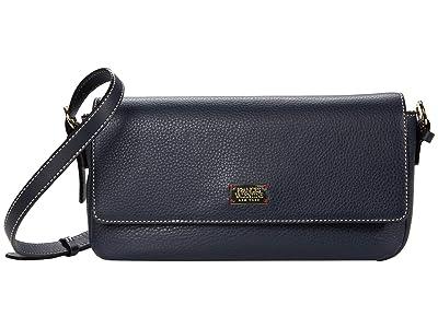 Frances Valentine Ellie Tumbled Leather Baguette (Navy) Handbags