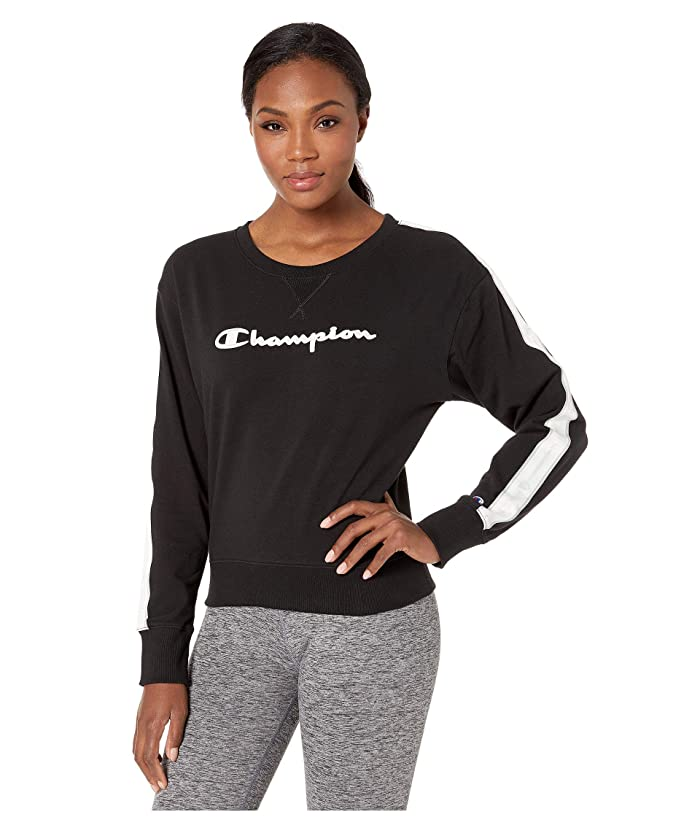 Champion  Heritage Crew with Taping (Black) Womens Clothing