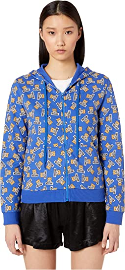 Cotton Fleece Hoodie w/ Teddy Bears All Over
