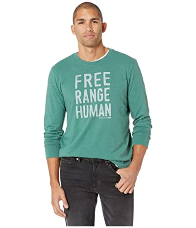 Life is Good Free Range Human Crusher Long Sleeve T-Shirt (Heather Forest Green) Men