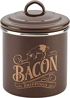 Ayesha Curry Enamel on Steel Bacon Grease Can / Bacon Grease Container - 4 Inch, Brown