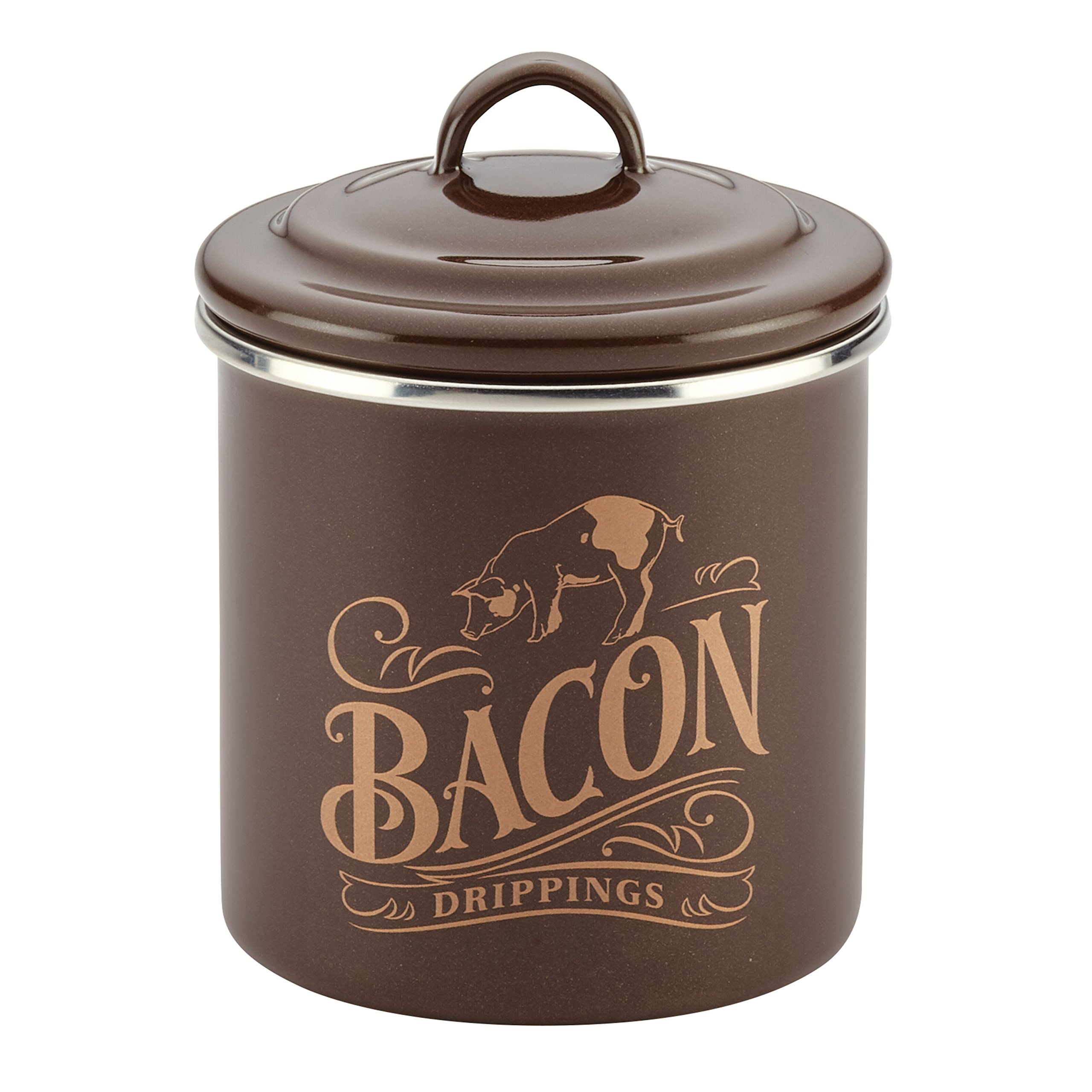 Amazon Com Ayesha Curry Enamel On Steel Bacon Grease Can Bacon Grease Container 4 Inch Brown Kitchen Dining