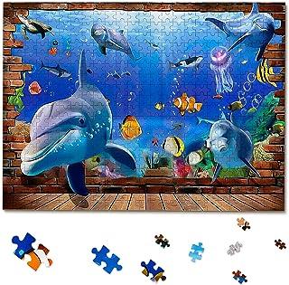 Blod And Brash dauphin Puzzle 500 Pièces, Thème monde de l'océan dauphin puzzle classique jeu de puzzle animaux, assemblag...