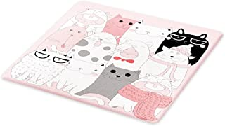 Ambesonne Cat Cutting Board, Cartoon Kittens Funny Smiling Glasses Scarfs Doodle Humorous Design, Decorative Tempered Glass Cutting and Serving Board, Large Size, Pink White
