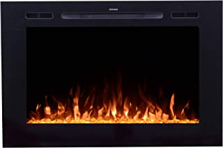 Touchstone 80006 Forte 40x26.5 Inch Wide, in-Wall Recessed Electric Fireplace, 1500/750 Watt Heater, Stone Hearth (Black)
