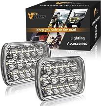 Best Partsam 2PCS Rectangle H6054 LED Headlights 5x7 7x6 Headlamp Hi/Low Sealed Beam H4 9003 Plug 6054 H5054 Compatible with Chevy S10 Blazer Express Van/Jeep Wrangler YJ XJ Cherokee Truck Ford Van Reviews